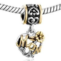 Mothers Day Gifts Pugster Flower Love Mom Family Charm Fits Pandora Charm For Mother:Amazon:Jewelry