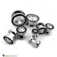 "Black & Clear CZ Diamond Stainless Steel Plugs (8G - 9/16"") 