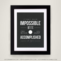 It May Seem Impossible... - 11x17 typography print - inspirational quote - retro style art print - modern wall decor - fitness poster