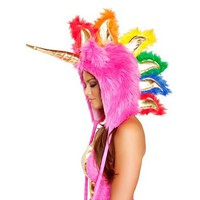 Faux Fur Hot Pink Unicorn Hood - ONE SIZE