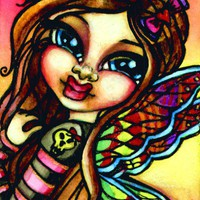 Cheeky Fairy Open Edition 4x6 ACEO Whimsical Fantasy Print by Christi | sunkitty7 - Print on ArtFire