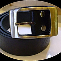 handmade man's black cow leather belt