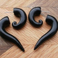 Black Plug Fake Gauge Earring | deceptions - Jewelry on ArtFire