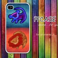 Twin Lionking with aztec Pattern: Handmade Case for Iphone 4/4s , Iphone 5 Case Iphone