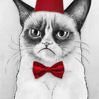 Grumpy Cat Dr Who Tard Portrait Art Print by Olechka