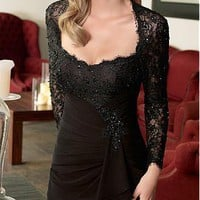 [165.61] Elegant full length Black Chiffon & Lace Mother of the Bride Dress - Dressilyme.com