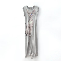 Cute Cat Print Dress Long T-shirt