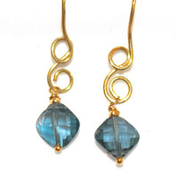 London Blue Topaz Earrings Minimalist Jewelry Gold Vermeil Delicate Earrings Gemstone Jewelry FizzCandy