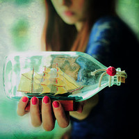 Ship in a bottle photograph, 20x30cm print, 8x12 print, surreal, dreamy, ethereal