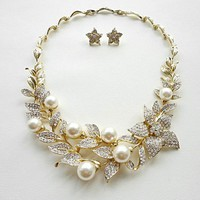 Gold-tone Flower Shape Wedding Jewelry Set