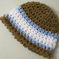 Brown Blue  White Boys Beanie--No.63-Crochet --Made in the USA--Baby Shower Gift--3/6M