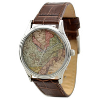 Vintage Map Watch (North America 1) in Silver