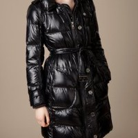 Burberry LONG BELTED PUFFER JACKET - Quilts &amp; Puffers