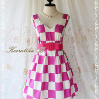 Lady Tea Dress - Glamorous Pastel Big Checkered Print Tea/Sundress Spring Summer Collection V Neck Pleated Skirt