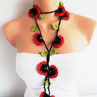Red and Black Poppy Flowers with Green Leaves Hand Crocheted Lariat Necklace, Bracelet or Belt