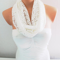 Infinity Scarf Loop Scarf Circle Scarf White Cotton Jersey Scarf Soft and Lightweight