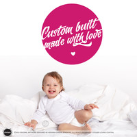 Custom Built Made With Love Wall/Door Decal - (Quote Words Children Kids Nursery Boys Girls Home Decor)