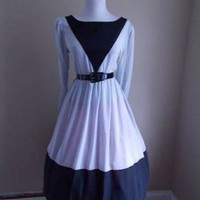 VTG 50s 80s BLACK & GRAY Mad Men FULL SKIRT Lucy PINUP Secretary SHIRT Day DRESS