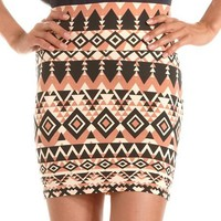 Aztec Cotton Spandex Mini Skirt: Charlotte Russe