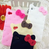 [5657-Beige] Hello Kitty Bow with Biscuit Pattern Case for iPhone 5