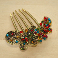 Colourful Gold Rhinestone Butterfly Hair Comb
