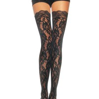 Rose Lace Thigh High Nylon Stocking With Lace Top