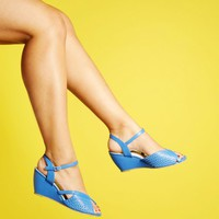 Bait Shoes Dennise Perf Front Quarter Strap Wedge in Blue | Pinup Girl Clothing