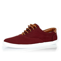 Burgundy and tan contrast plimsolls