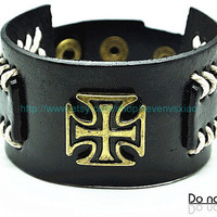 Cuff Black Leather Bracelet  mens bracelet cool bracelet jewelry bracelet bangle bracelet  cuff bracelet 2253S