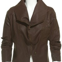 NEW - ROMEO &amp; JULIET COUTURE MULTI ZIP BOMBER MOTO JACKET - BROWN - SIZE SMALL
