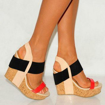 i shoes summer coral black cork from