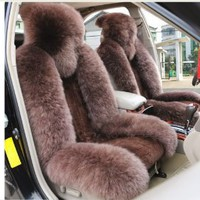 Wholeset Sheepskin Car Seat Covers Car Rearview Seat Cover Car Cushion Sheepskin Brown Color Car Front Seat Covers - Amazon.com