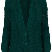 Knitted Textured Chunky Cardi - Cardigans - Knitwear  - Clothing