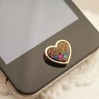 Brilliant Valentine Hearts Crystal Iphone Home Return Keys Buttons Sticker For iPhone 4S iPhone 5 iPod Touch iPad Repair Fix Replace Replacement:Amazon:Cell Phones & Accessories