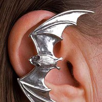 3D Large Realistic Bat Animal Wrap Ear Cuff in Shiny Silver