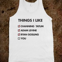 Things I Like (Tank) - Dating Studs Shop - Skreened T-shirts, Organic Shirts, Hoodies, Kids Tees, Baby One-Pieces and Tote Bags