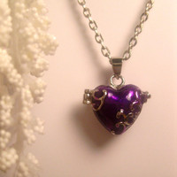 Purple Heart Locket Or Prayer Box Necklace