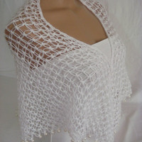 Hand Crocheted Beaded (White) Bridal, Wedding, Bride Shawl Bridesmaid gift, magic shawl, Scarf by Arzus