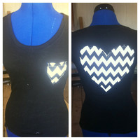Black and White Chevron Print heart tee  by AngeliqueMerici