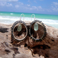 Hawaiian Hand Carved Opihi Shells with Aqua Beach Glass Mermaids Tears on 925 Sterling Silver Wire Small Circular Hoop Earrings
