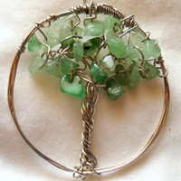Tree of Life in Beautiful Spring Green Aventurine Wire Wrapped Pendant | YourTime - Jewelry on ArtFire