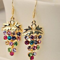 Colorful Sparkly Grapes Rhinestone Earrings from LilyFair Jewelry
