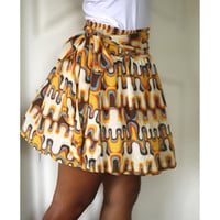 Retro Skirt in orange mustard yellow blue and brown by LoNaDesign