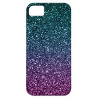 Pink and Aqua Ombre Faux Glitter iPhone 5 Cover from Zazzle.com