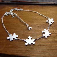 Puzzle Necklace About Autism - 50% Sales go to Autism Society - Handmade Sterling Silver | SmilingSilverSmith Handmade Silver Rings & Jewelry