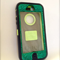 iPhone 5 Otterbox Glitter Cute Sparkly Case Defender Series for Apple iPhone 5 Frost Green Topaz