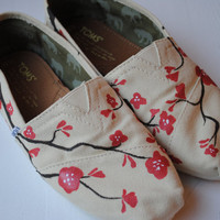Hand Painted TOMS in Cherry Blossom Design by PaperHeartsCouncil