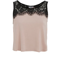 Pink Lace Trim Crop Vest