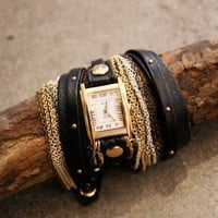 Black leather wrap watch with layered studded band , La Mer Collection | shopcuffs.com