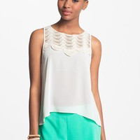 Lush Crochet Appliqué Open Back Tank (Juniors) | Nordstrom